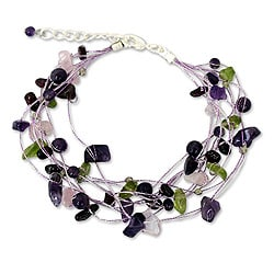 Handcrafted Multi-gemstone 'Lilac Mousse' Bracelet (Thailand)