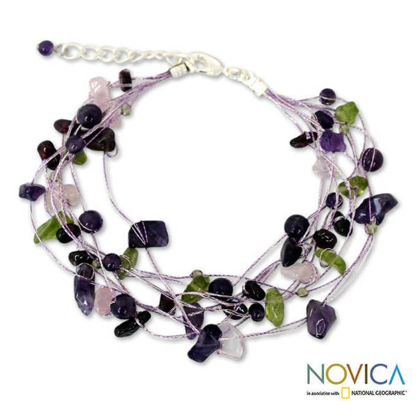 Handmade Multi-gemstone 'Lilac Mousse' Bracelet (Thailand)