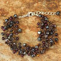 Handmade Multi-gemstone 'Passion' Pearl Bracelet (4 mm) (Thailand)
