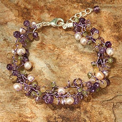 Multi-gemstone 'Mystic Passion' Pearl Bracelet (4-4.5 mm) (Thailand)