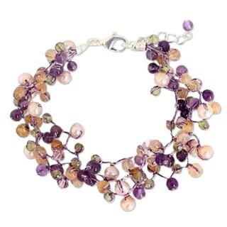 Handmade Multi-gemstone 'Mystic Passion' Pearl Bracelet (4-4.5 mm) (Thailand)