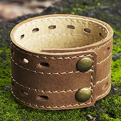 Handmade Men's Leather 'Riverbank' Bracelet (Mexico)