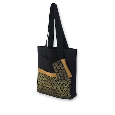 Handmade Cotton 'Gold Garden' Medium Tote Bag and Change Purse (Thailand)