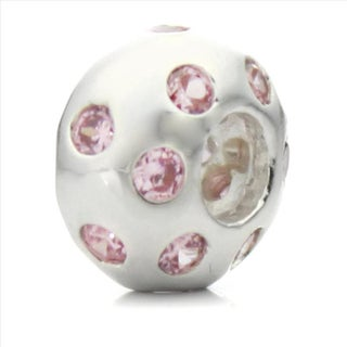 Silverplated Pink Crystal 'Disco Night' Pacific Bead