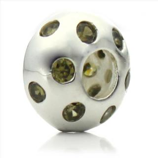Silverplated Green Crystal 'Disco Night' Pacific Bead