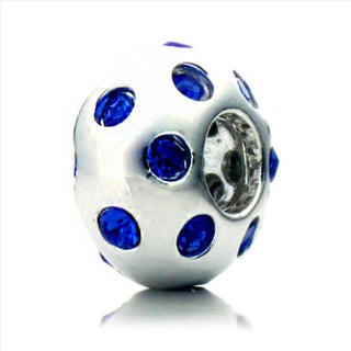 Silverplated Blue Crystal 'Disco Night' Pacific Bead
