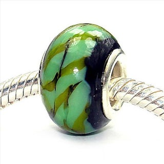 Silverplated 'Camouflage' Coastal Collection Glass Beads (Set of 3)
