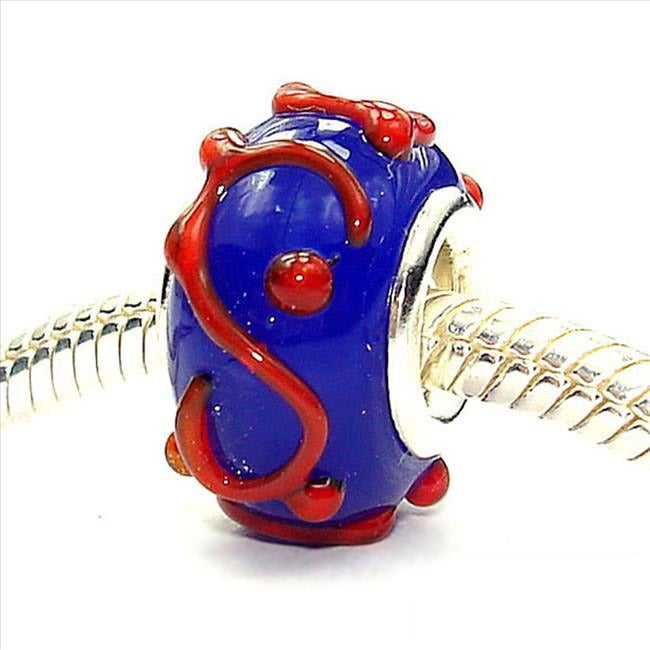 Jewelry Beads Glass Beads Sterling Silver Reflections Blue with Orange Swirls Glass Bead