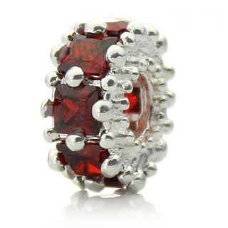 Silverplated Red Crystal 'Glitteratzi' Pacific Bead