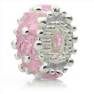 Silver-Plated 'Glitteratzi' Decorative Pink Crystal Bead