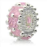 Silver-Plated 'Glitteratzi' Decorative Pink Crystal Bead