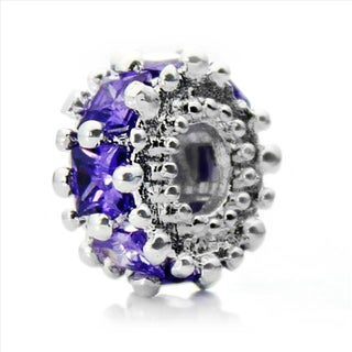 Silver-Plated 'Glitteratzi' Decorative Purple Crystal Bead