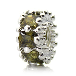 Silverplated Green Crystal 'Glitteratzi' Pacific Bead