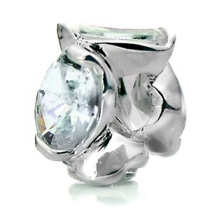 Silverplated Clear Crystal 'Bling' Pacific Bead