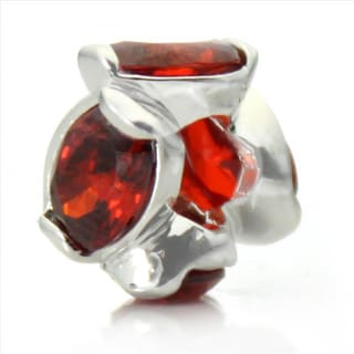 Silver-Plated 'Bling' Decorative Red Crystal Bead