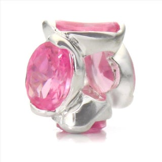 Silver-Plated 'Bling' Decorative Pink Crystal Bead