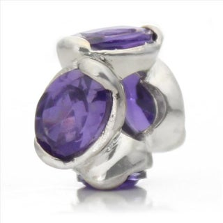 Silver-Plated 'Bling' Decorative Purple Crystal Bead