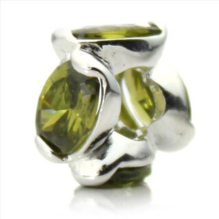 Silver-Plated 'Bling' Decorative Green Crystal Bead