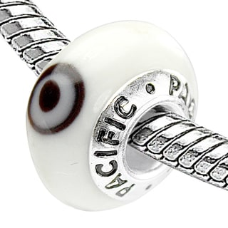 Sterling Silver 'Keep an Eye on Me' Murano-style Glass Bead