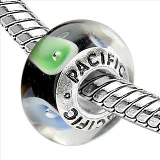 Sterling Silver 'Turquoise and Caicos' Murano-style Glass Bead
