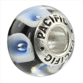 Sterling Silver 'Cosmos Tonight' Murano-style Glass Bead