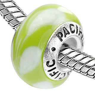 Sterling Silver 'Pineapple Plantation' Murano-style Glass Bead
