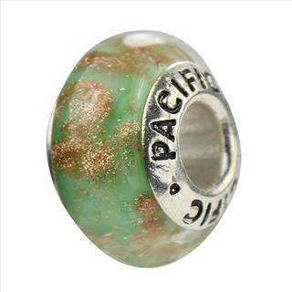 Sterling Silver 'Green Apples and Ham' Murano-style Glass Bead
