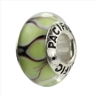 Sterling Silver 'Rain Forrest' Murano-style Glass Bead
