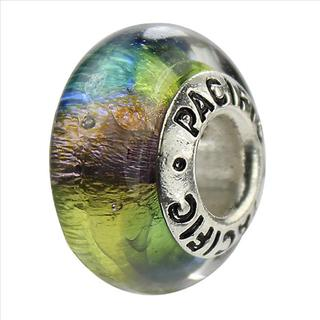Sterling Silver 'Reggae' Glass Bead