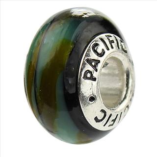 Sterling Silver 'Camouflage' Murano-style Glass Bead