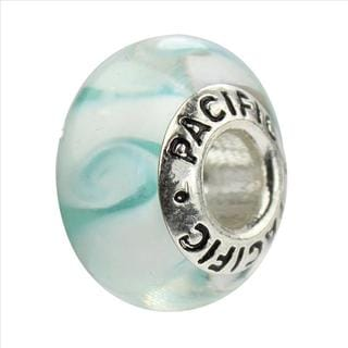 Sterling Silver 'Cabana in the Sun' Murano-style Glass Bead