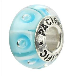 Sterling Silver 'Thats Groovy' Murano-style Glass Bead