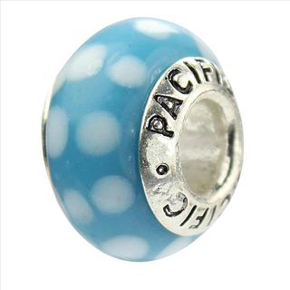 Sterling Silver 'Polka Dot Bikini' Murano-style Glass Bead