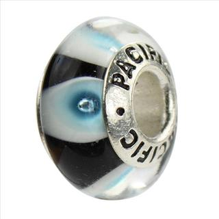 Sterling Silver 'I Like You Blue' Murano-style Glass Bead