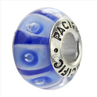 Sterling Silver 'C'est la Vie!' Murano-style Glass Bead
