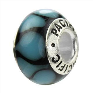 Sterling Silver 'Raindrops on Roses' Murano-style Glass Bead