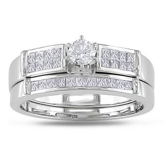 Miadora 10k White Gold 5/8ct TDW Diamond Bridal Ring Set