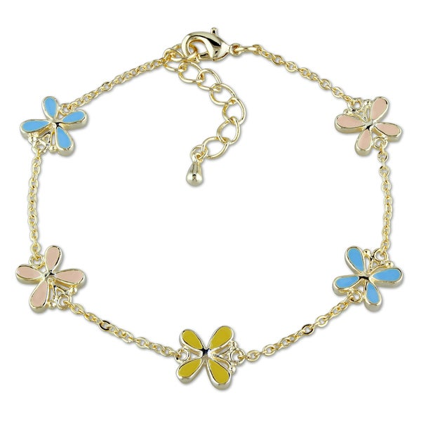 Miadora 18k Gold Plated Children's Colorful Charm Bracelet