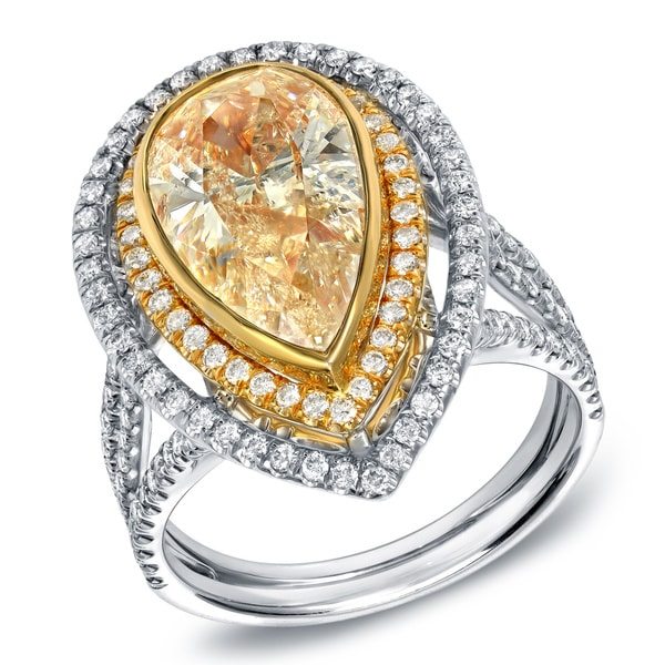 Auriya 14k Gold 4 1/4ct TDW EGL USA Certified Fancy Yellow Diamond Pear Halo Ring (G-H, SI1-SI2)