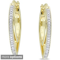 Miadora Silver 1/5ct TDW Diamond Hoop Earrings