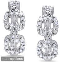 Miadora Silver 1/3ct TDW Diamond Cuff Hoop Earrings