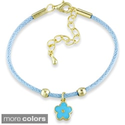 M by Miadora 18k Gold Plated Silver Children's Blue or Pink Charm Bracelet