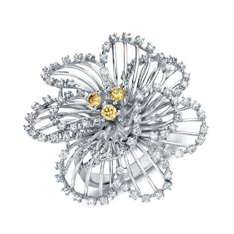 Auriya Flower Shaped 1 1/3ct TDW Yellow and White Diamond Cocktail Ring 14k White Gold