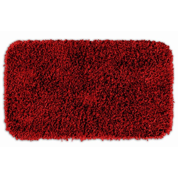 Somette Quincy Super Shaggy Red Hot Washable 30 x 50 Bath Runner Rug