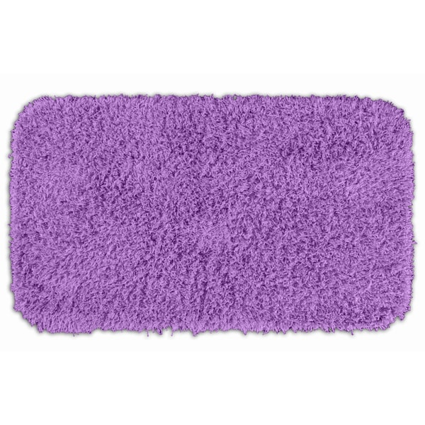 Somette Quincy Super Shaggy Purple Washable Runner Bath Rug