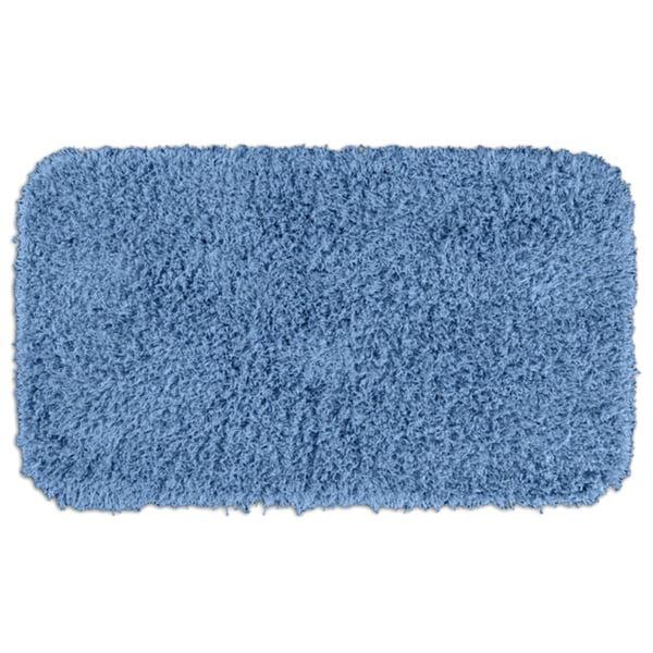 Somette Quincy Super Shaggy Basin Blue Washable 30 x 50 Bath Runner Rug