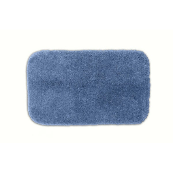 Somette Posh Plush Basin Blue Washable Bath Rug