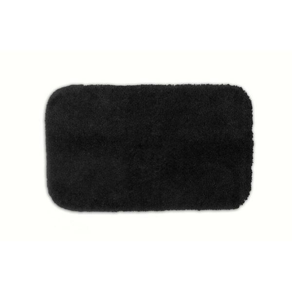 Somette Posh Plush Black Washable Bath Rug