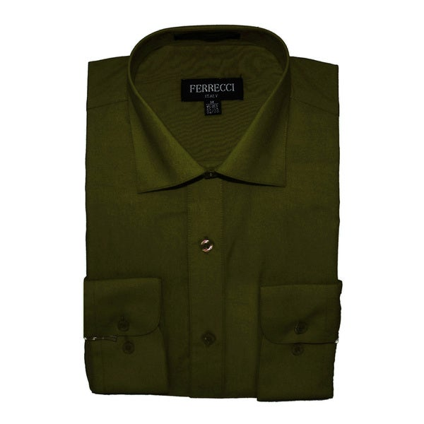 Ferrecci men 39 s slim fit olive green dress shirt free for Olive green oxford shirt