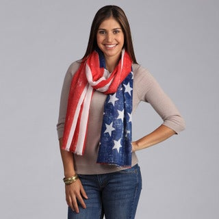 Saro Women's American Flag-Design Polyester Scarf